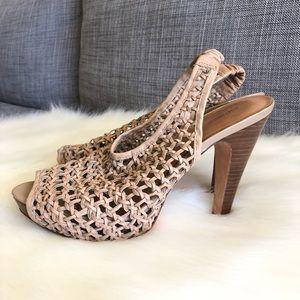 Antonio Melani Tan Woven Leather Heels
